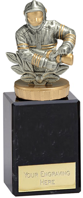 "Fire Fighter Trophy on Marble Base Gold & Silver 14.5cm (5.75"")"