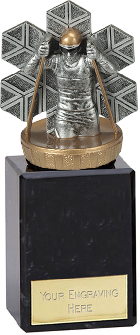 """Cross Country Skiing Trophy on Marble Base Gold & Silver 14.5cm (5.75"""")"""
