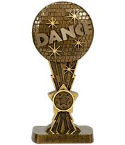 "Antique Gold Glitter Ball Dance Award 16.5cm (6.5"")"