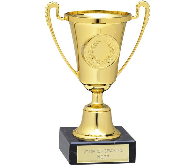"Gold Trophy Cup With Column Award On Marble Base 13cm (5.25"")"