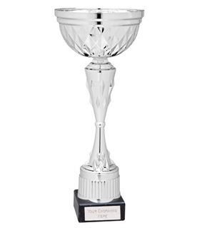 "Diamond Patterned Trophy Cup Award Silver 30.5cm (12"")"