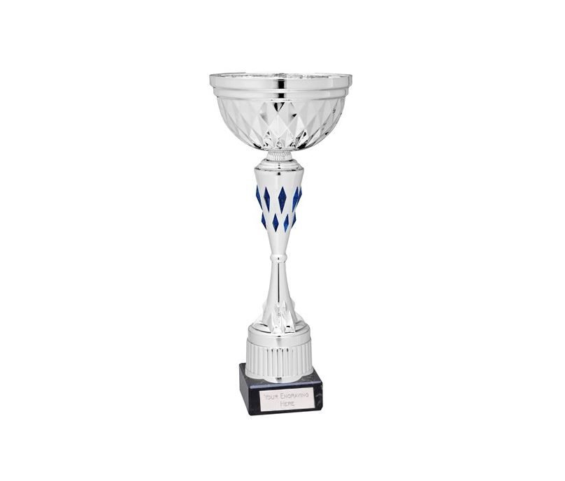 "Diamond Patterned Trophy Cup Award Silver & Blue 24cm (9.5"")"