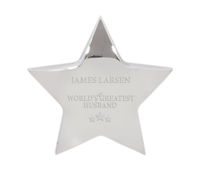 "World's Greatest Husband Silver Star Paperweight 9.5cm (3.75"")"