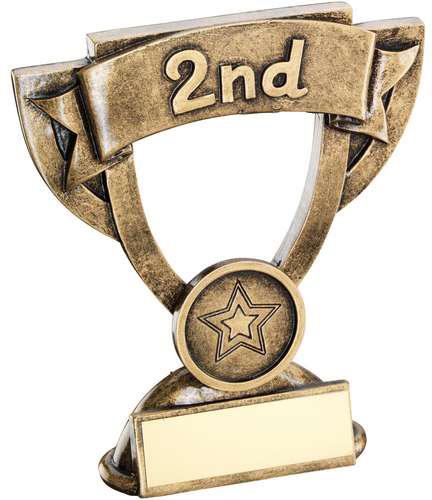 "2nd Place Mini Cup Banner Trophy 11cm (4.25"")"