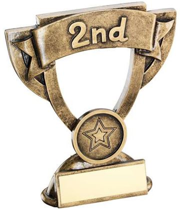 "2nd Place Mini Cup Banner Trophy 11cm (4.25"")"