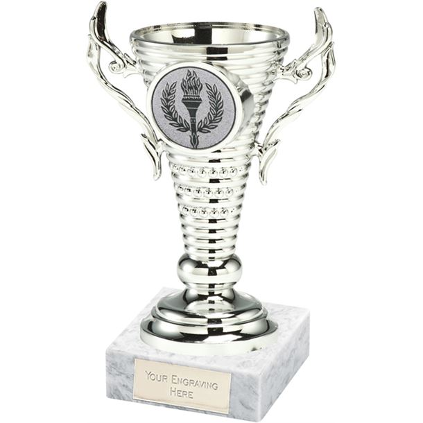 """Silver Trophy Cup on White Marble Base 12.5cm (5"""")"""