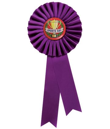 """Single Tier Purple Rosette With Sports Day Center Disc 25.5cm (10"""")"""