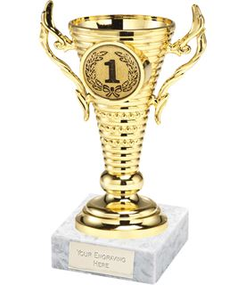 "1st Place Gold Trophy Cup on White Marble Base 12.5cm (5"")"
