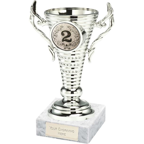 "2nd Place Silver Trophy Cup on White Marble Base 12.5cm (5"")"