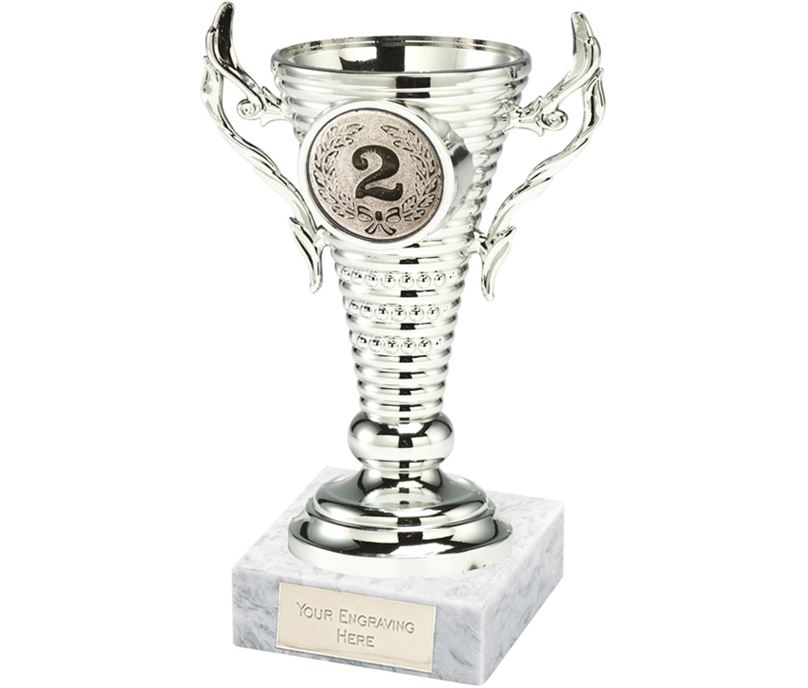 """2nd Place Silver Trophy Cup on White Marble Base 12.5cm (5"""")"""