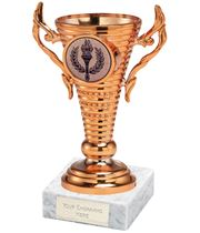 "Bronze Trophy Cup on White Marble Base 12.5cm (5"")"