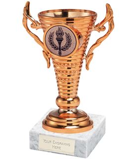 """Bronze Trophy Cup on White Marble Base 12.5cm (5"""")"""