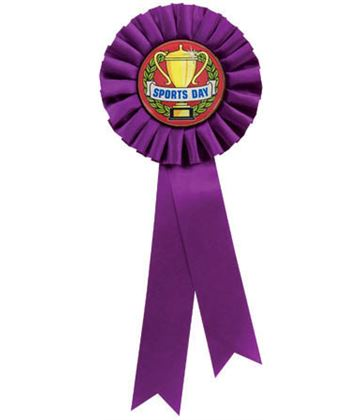 "Single Tier Purple Rosette With Sports Day Centre Disc 30cm (11.75"")"