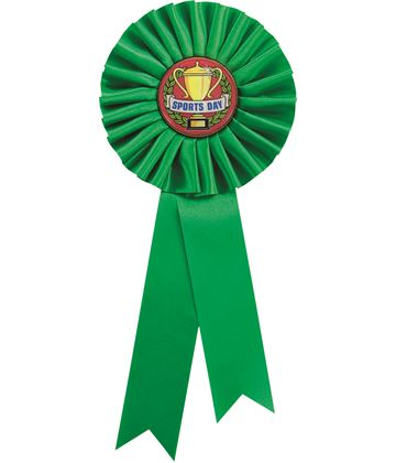 """Single Tier Green Rosette With Sports Day Centre Disc 25.5cm (10"""")"""
