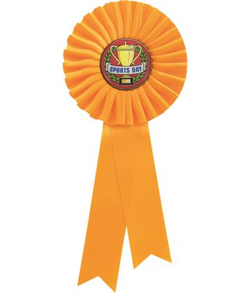 """Single Tier Yellow Rosette With Sports Day Center Disc 25.5cm (10"""")"""