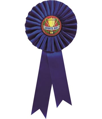 """Single Tier Blue Rosette With Sports Day Centre Disc 25.5cm (10"""")"""