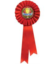 """Single Tier Red Rosette With Sports Day Centre Disc 30cm (11.75"""")"""