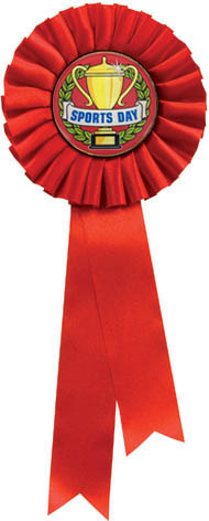 "Single Tier Red Rosette With Sports Day Centre Disc 30cm (11.75"")"