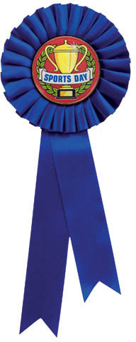 "Single Tier Blue Rosette With Sports Day Centre Disc 30cm (11.75"")"