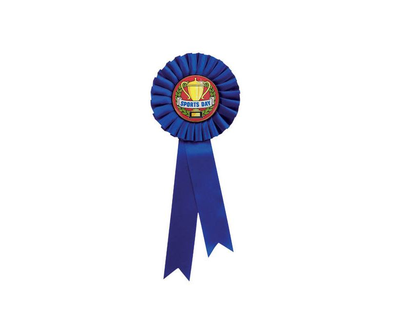 """Single Tier Blue Rosette With Sports Day Centre Disc 30cm (11.75"""")"""