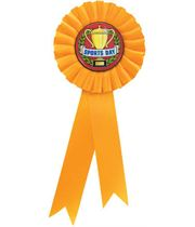 """Single Tier Yellow Rosette With Sports Day Centre Disc 30cm (11.75"""")"""