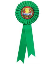 """Single Tier Green Rosette With Sports Day Centre Disc 30cm (11.75"""")"""