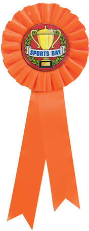 "Single Tier Orange Rosette With Sports Day Centre Disc 30cm (11.75"")"
