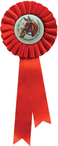 "Single Tier Red Rosette With Horse Centre Disc 30cm (11.75"")"