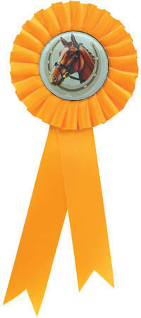 "Single Tier Yellow Rosette With Horse Centre Disc 30cm (11.75"")"