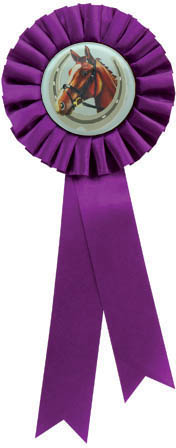 "Single Tier Purple Rosette With Horse Centre Disc 30cm (11.75"")"