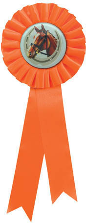 "Single Tier Orange Rosette With Horse Centre Disc 30cm (11.75"")"