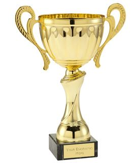 "Gold Patterned Trophy Cup on a Black Marble Base 26.5cm (10.5"")"
