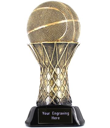 "Basketball & Hoop Trophy Gold/Black 21cm (8.25"")"