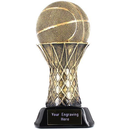 """Basketball & Hoop Trophy Gold/Black 21cm (8.25"""")"""