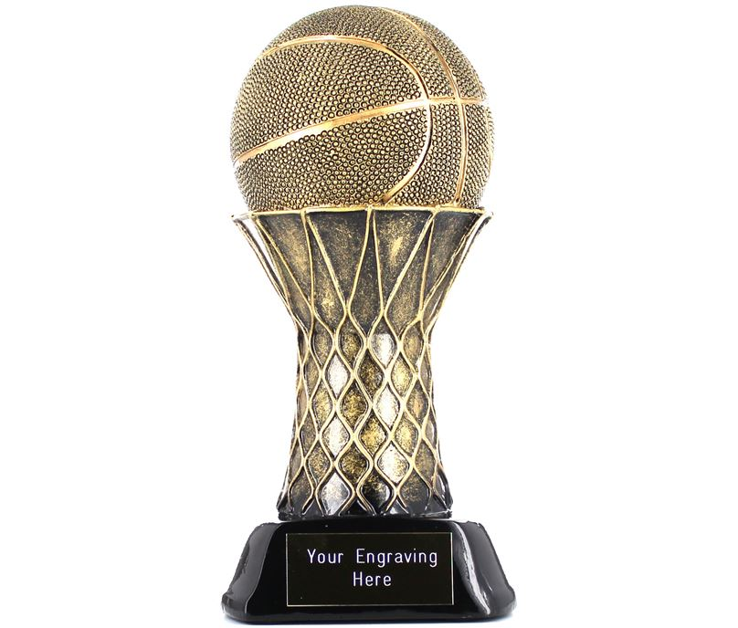 "Basketball & Hoop Trophy Gold/Black 19cm (7.5"")"