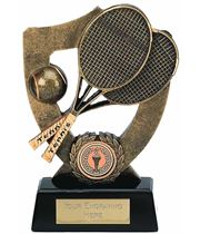 "Tennis Trophy with Ball and Rackets 16.5cm (6.5"")"