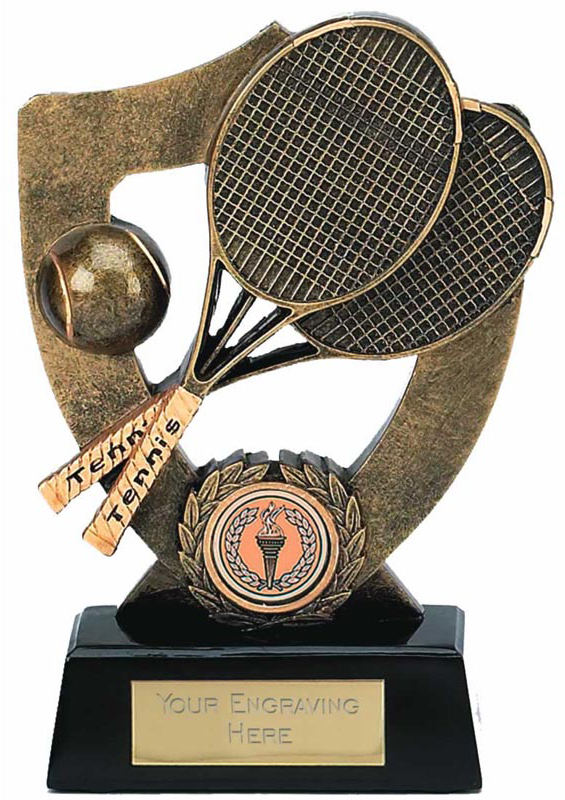 """Tennis Trophy with Ball and Rackets 16.5cm (6.5"""")"""