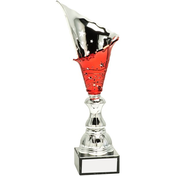 """Silver & Red Spiral Trophy Cup 34.5cm (13.5"""")"""