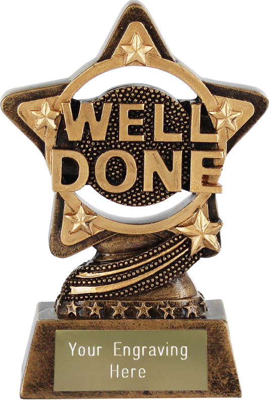 "Well Done Trophy by Infinity Stars 10cm (4"")"