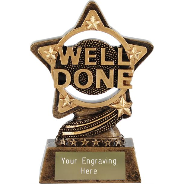"""Well Done Trophy by Infinity Stars 10cm (4"""")"""
