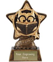 "Reading Trophy by Infinity Stars 10cm (4"")"