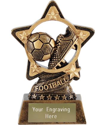 "Football Trophy by Infinity Stars 10cm (4"")"