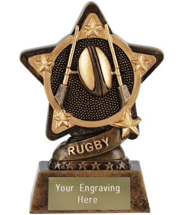 "Rugby Trophy by Infinity Stars 10cm (4"")"