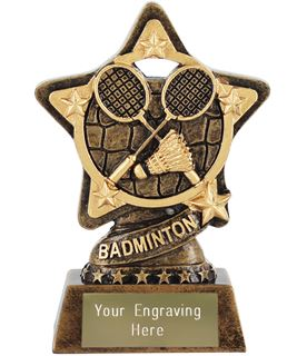 "Badminton Trophy by Infinity Stars 10cm (4"")"