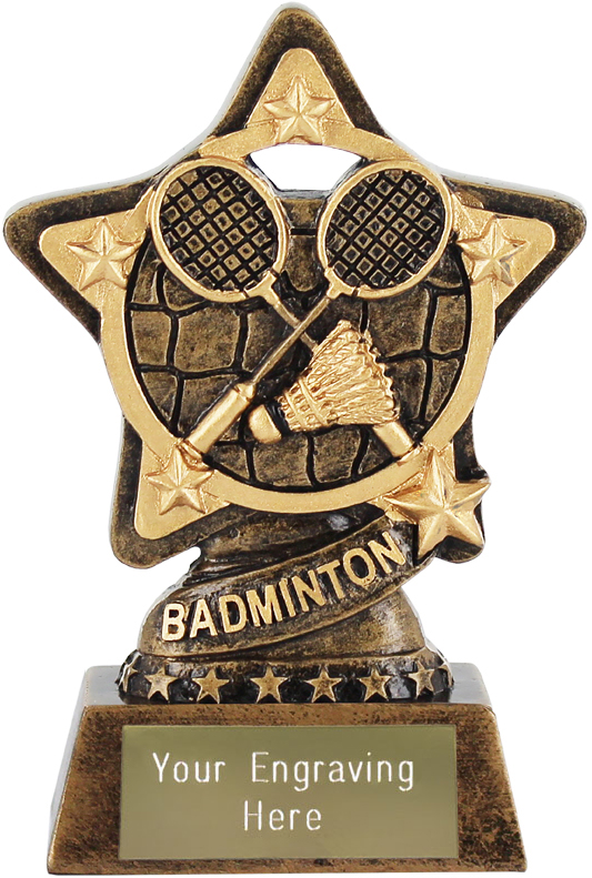"Badminton Trophy by Infinity Stars 10cm (4"")"