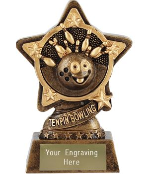 "Tenpin Bowling Trophy by Infinity Stars 10cm (4"")"