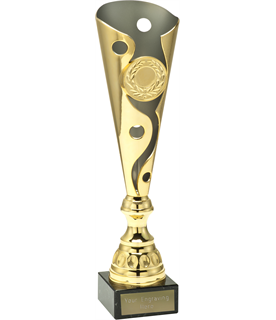 "Gold Carnival Trophy Cup On Marble Base 34cm (13.5"")"