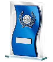 "2019 Blue Mirrored Glass Plaque Award 15cm (6"")"