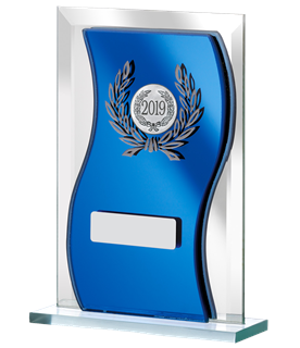 "2019 Blue Mirrored Glass Plaque Award 16.5cm (6.5"")"