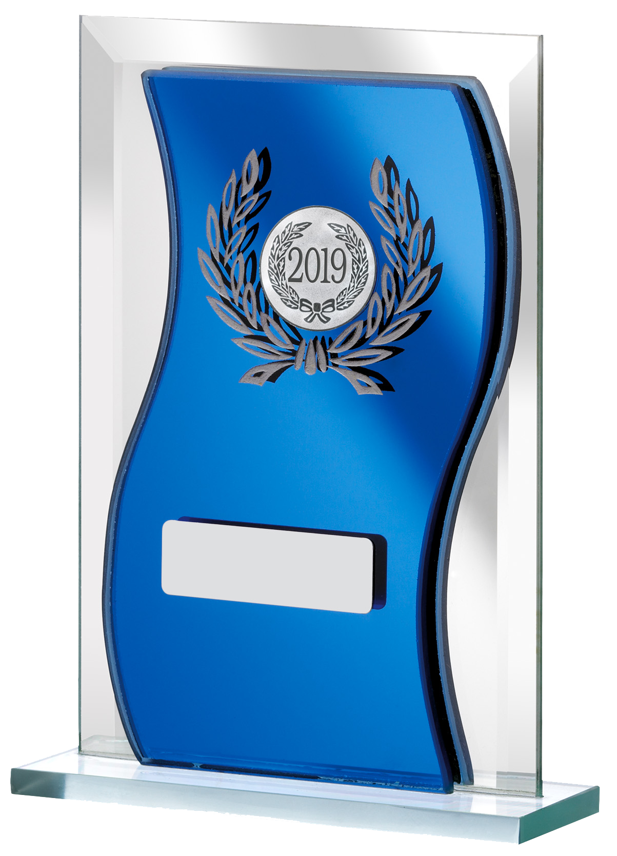 "2019 Blue Mirrored Glass Plaque Award 12.5cm (5"")"